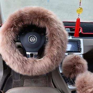 3 Pcs Short Imitation Wool Autos Steering Wheel Cover Handbrake Woolen Pad Black