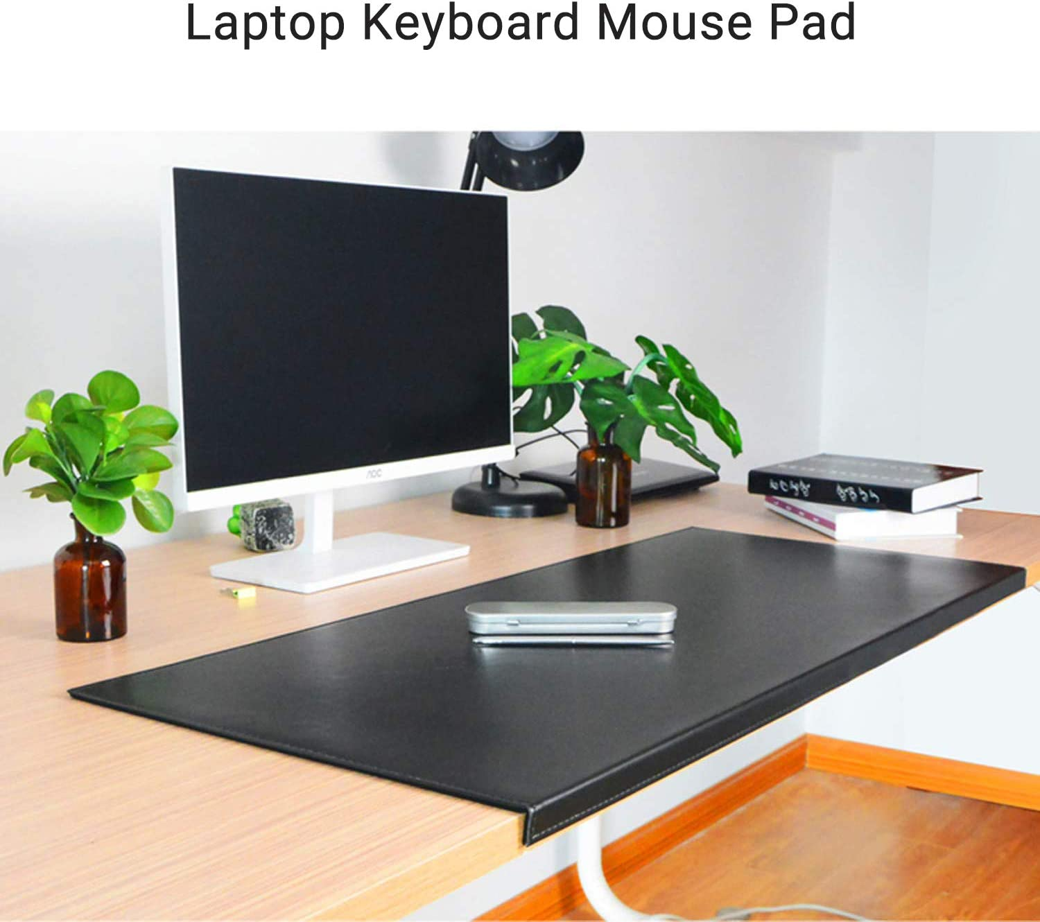 PU Leather Office Desk Mouse Mat with Full Grip Fixation Lip Table Blotter Desk Pad Protector Waterproof Gaming Writing Mat-White 70x40x2cm DM/&FC Large Mouse Pad