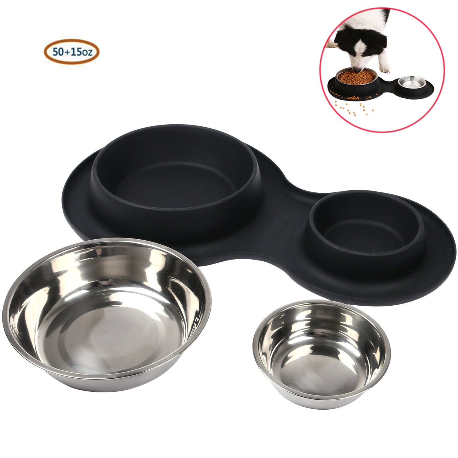 Pet Bowls Puppy Food Bowls Stainless Steel Dog Cat Bowls with No Spill Non-Skid Silicone Mat 15oz and 50oz Feeder Bowls for Small Dogs Cats Pet-Black