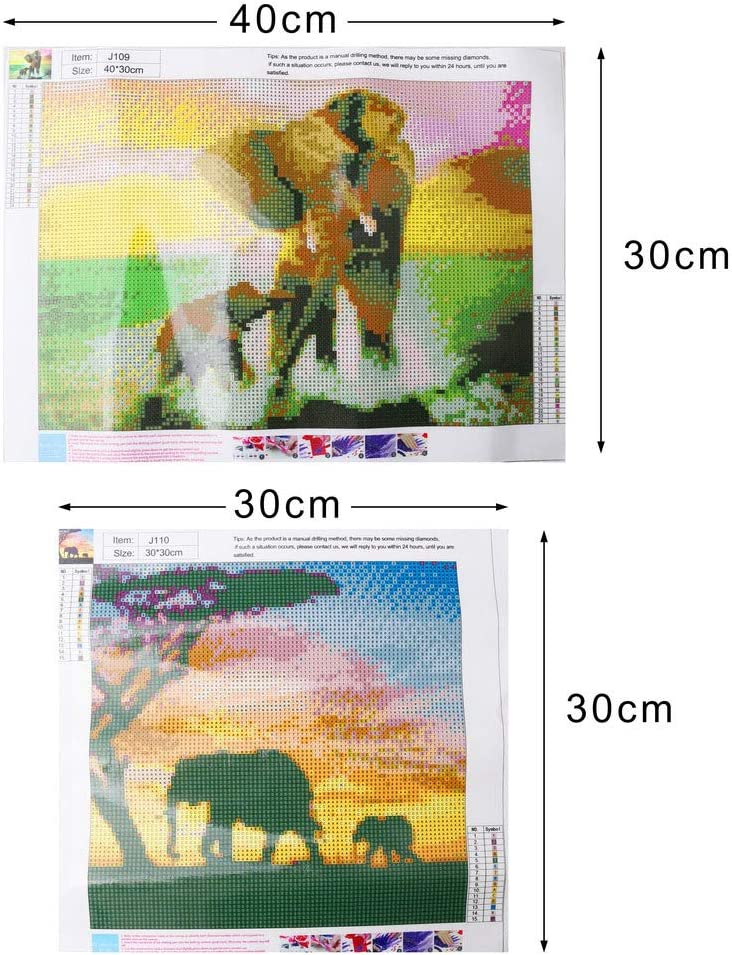 Rhinestone Painting Kits Embroidery Cross Stitch Full Drill Diamond Embroidery Paintings Arts Craft for Home Decor 11811.8 inch Fantye 2 Pack DIY 5D Diamond Painting Kits Elephant