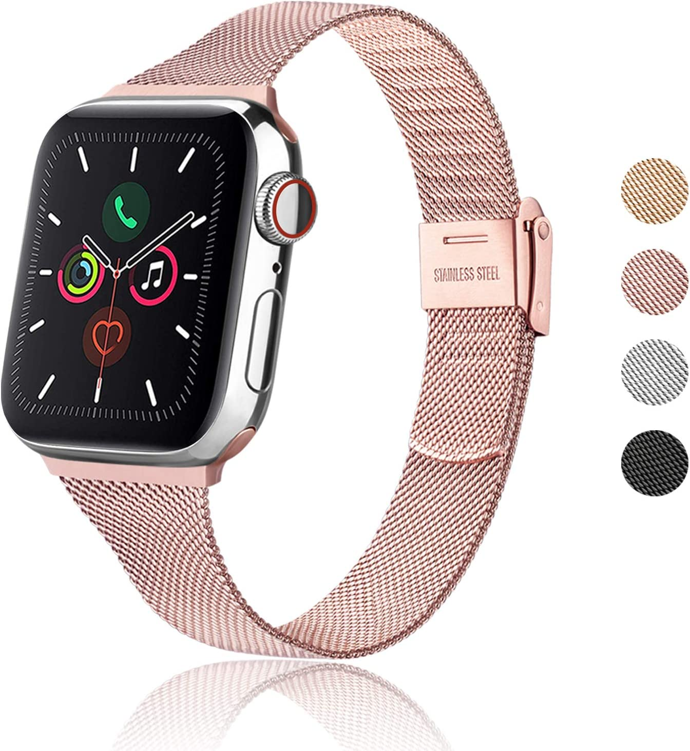 Meliya Metal Slim Bands Compatible with Apple Watch Band 38mm 40mm 42mm 44mm, Stainless Steel Metal Clasp Thin Replacement Band for iWatch Series 5 4 3 2 1 (Rose Pink, 38mm/40mm)