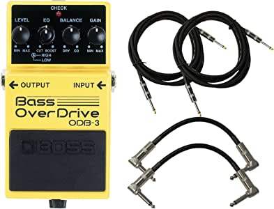 BOSS ODB-3 Bass Overdrive Pedal Bundle w/4 Cables