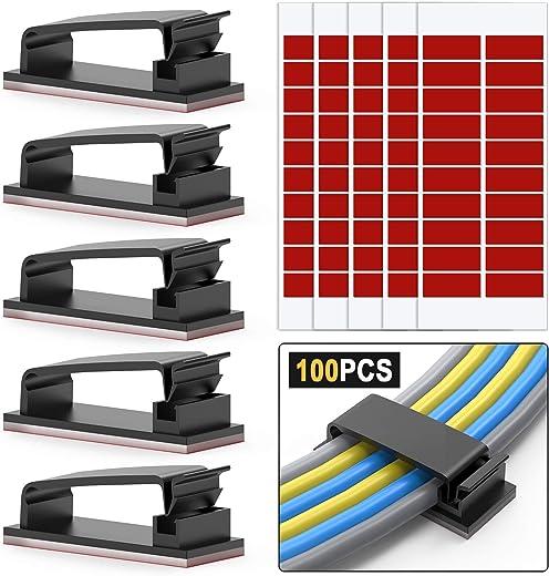 100 Stück Kabel-Clips, 3M Selbstklebende Kabelschellen, Drahthalter, Kabel Management, Kabelklemme, Ethernet-Kabel-Organizer, Desktop-Kabel-Halter,…