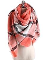 Yanekop Womens Tassels Soft Plaid Tartan Scarf Winter Large Blanket Wrap Shawl