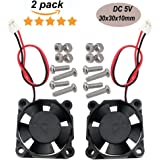 Haitronic 30x30x10mm DC 5V 3010 Quiet Brushless Cooling Fan (2pin) For Raspberry pi 3, Raspberry Pi 2 Model B and Model B+ B Plus, 3D printer extruder, DIY Arduino prototyping project