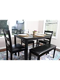 4 person 5 piece kitchen dining table set 1 table 3 leather chairs - Chairs For Kitchen Table