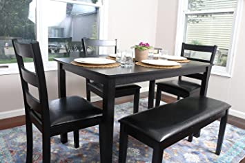 LIFE Home 4 Person - 5 Piece Kitchen Dining Table Set - 1 Table, 3 Leather  Chairs & 1 Bench Black J150232Black