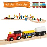 Jacootoys Joqutoys Figure 8 Train Set Tracks with Cars Wooden Toys for Kids, 48 Pieces