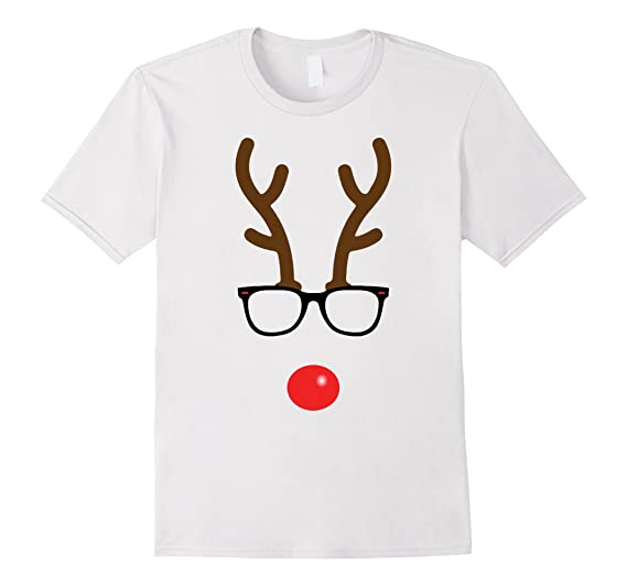 Mens Rudolph The Red Nose Reindeer Nerd Geek Christmas T-Shirt 3XL White
