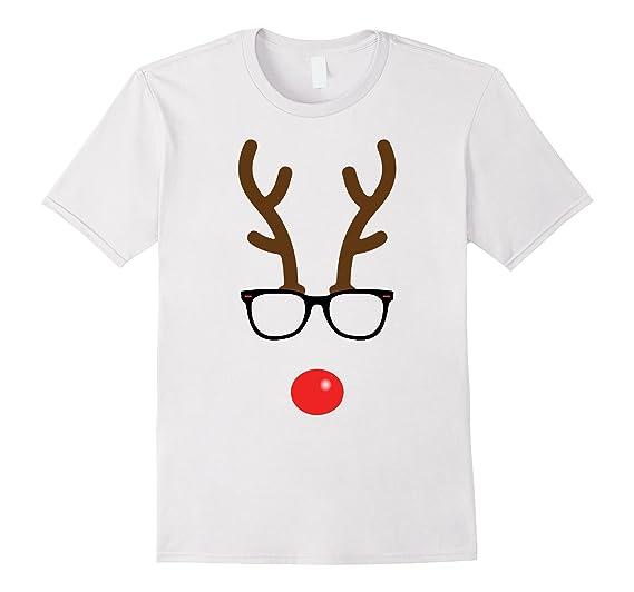 Mens Rudolph The Red Nose Reindeer Nerd Geek Christmas T-Shirt 3XL White