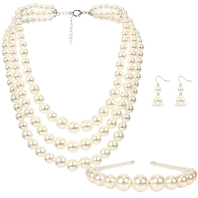 1960s Jewelry Styles and Trends to Wear LuckyHouse Womens Simulated Faux Three Multi-Strand Pearl Jewelry Sets Include Necklace Bracelet and Earrings Set $11.90 AT vintagedancer.com