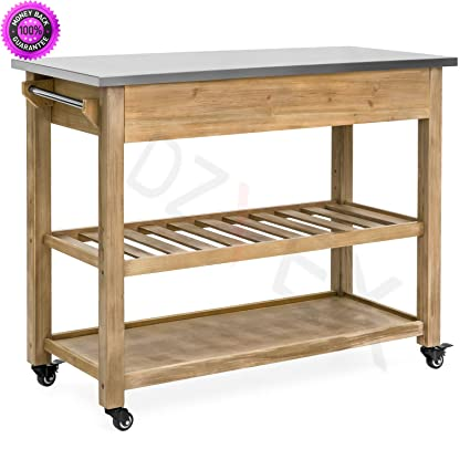DzVeX Dining Kitchen Island Storage U0026 Bar Cocktail Cart W/Stainless Steel  Top   Wood