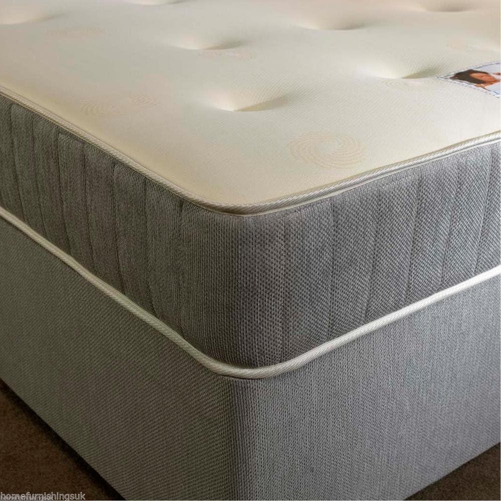 Home Furnishings UK Hf4you Grey Fabric Divan Bed Set - 5FT Kingsize - 2 Drawers Same Side - No Headboard