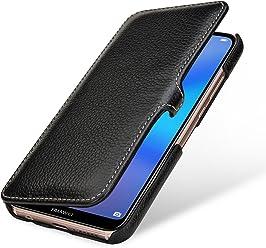 StilGut Book Type, Housse en Cuir pour Huawei P20 Lite. Etui de Protection en Cuir véritable pour Huawei P20 Lite à Ouverture latérale, Noir avec Clip