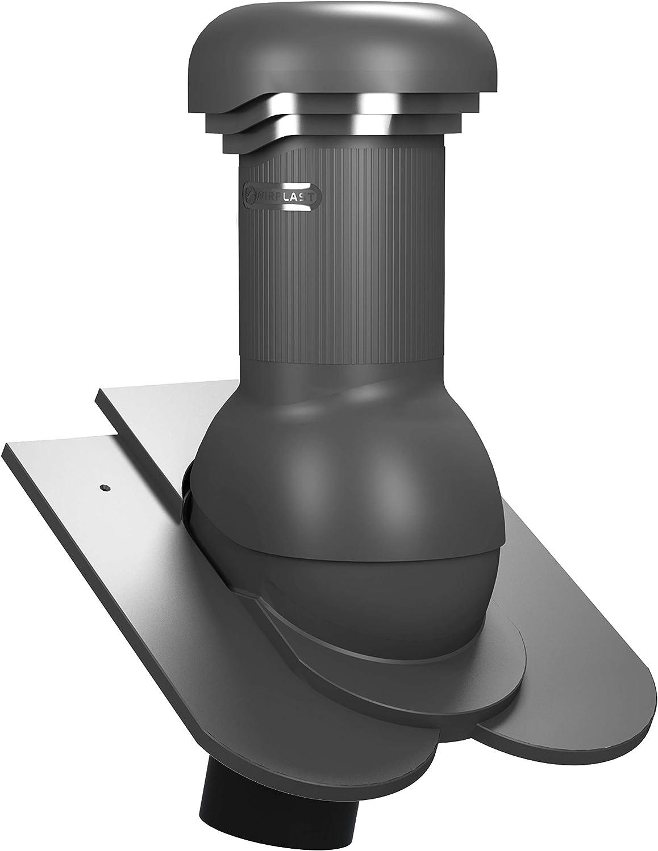 RAL 8004 - Ziegelrot Entl/üfterkamin PRO DN125 f/ür Biberschwanzziegel in Kronendeckung Dachl/üfter Entl/üfter