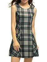 Allegra K Women's Round Neck Sleeveless Plaids Mini A Line Dress
