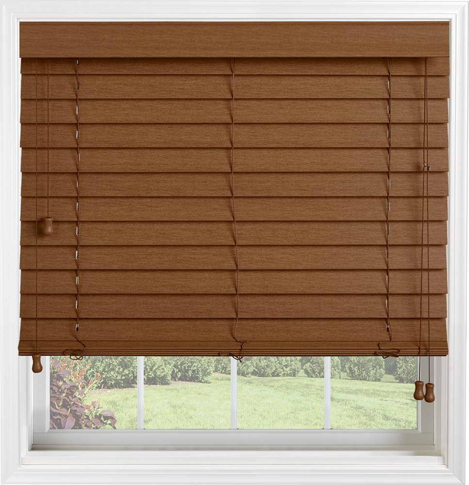 Bali Blinds Custom Faux Wood 2'' Corded Blinds with Cord Tilt, 33 x 75'', Premium Regal Oak by Bali Blinds (Image #1)