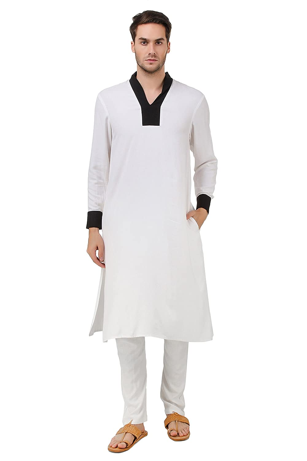 MyBatua White Rayon Kurta Pajama, Indian Dress Men's Clothes KP-011