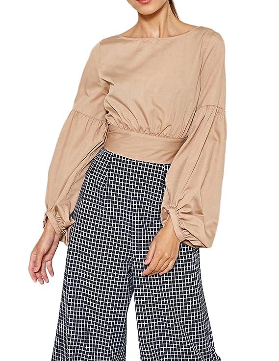0e8b86ffbd5 hodoyi Women Satin Tunic Back Self Tie Puff Sleeve Tee Shirt Top Blouse at Amazon  Women's Clothing store: