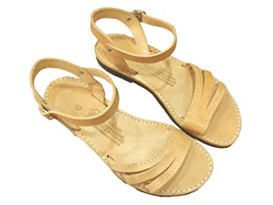 a7b10c443940 Ancient Greek Style Leather Sandals Roman Handmade Womens Strappy Shoes  Gladiator Spartan Philomela Summer Flat Flip Flops Natural Brown Colour  Fashion