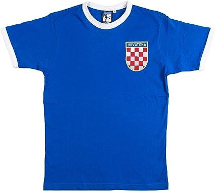 Retro Croacia Fútbol camiseta nueva tallas S-XXL Logotipo Bordado - algodón, Azul, 100% algodón, Hombre, Chica: Amazon.es: Ropa y accesorios