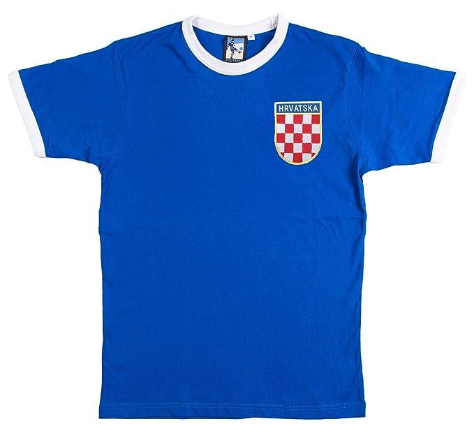 Retro Croacia Fútbol camiseta nueva tallas S-XXL Logotipo Bordado - algodón, Azul,