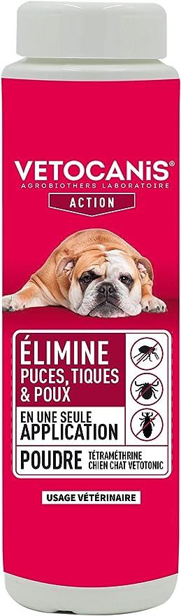 VETOTONIC Vetocanis - Polvo antiparasitario, antipulgas y antiácaros, con tetrametrina para Perro y Gato, 150 g: Amazon.es: Productos para mascotas