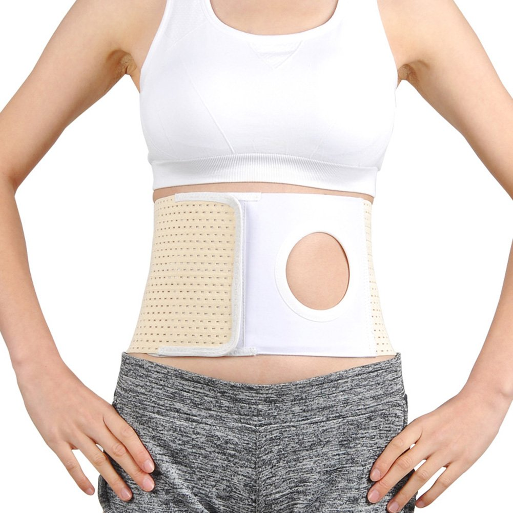 Whthteey Elastic Ostomy Hernia Belt for Waist Abdominal with Stoma Opening (L, Beige) by Whthteey