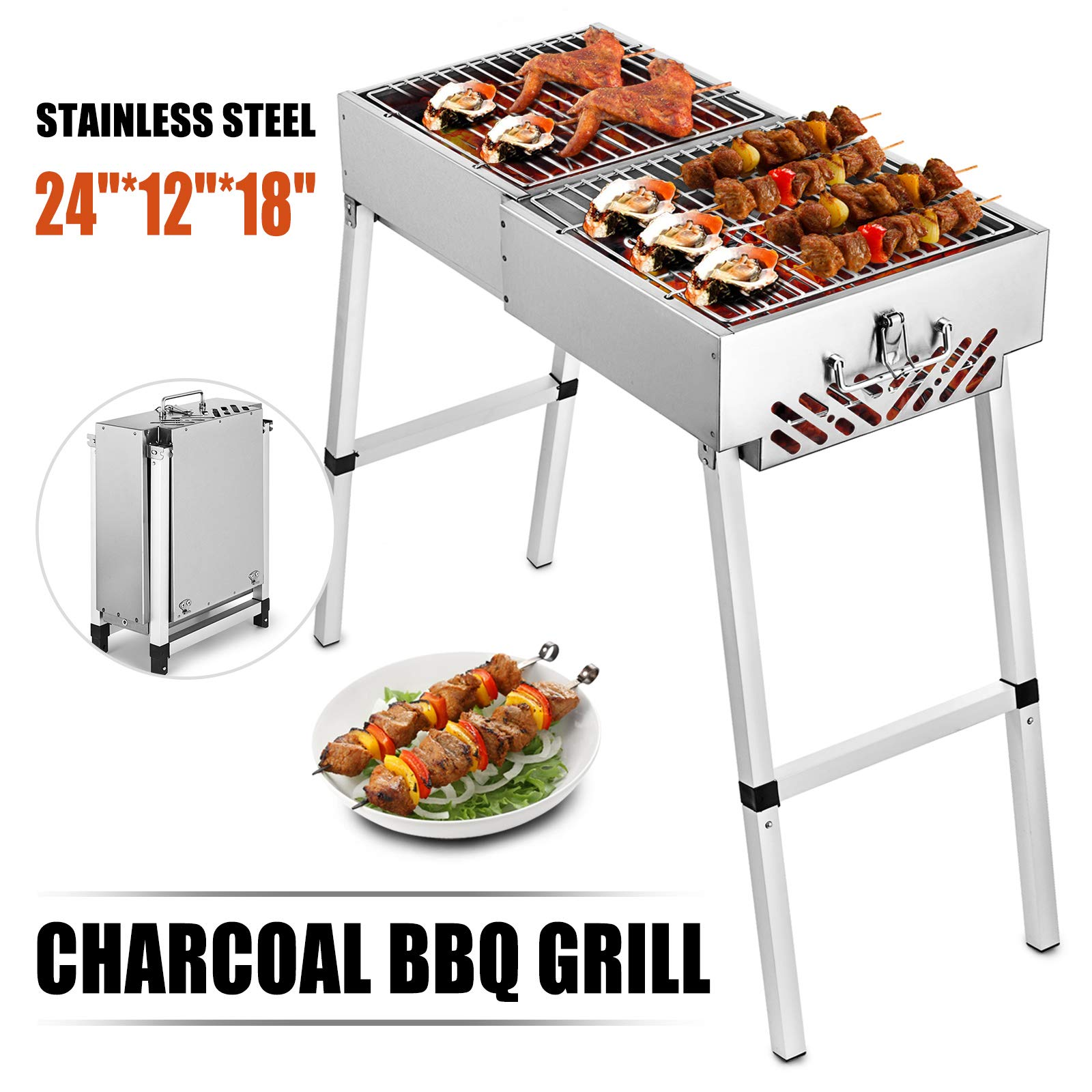 Happybuy Folded Portable Charcoal BBQ Grill 24x12 inches Outdoor Barbecue Charcoal Stainless Steel Kebab Grill Folding Grill Portable Grill Perfect for Camping