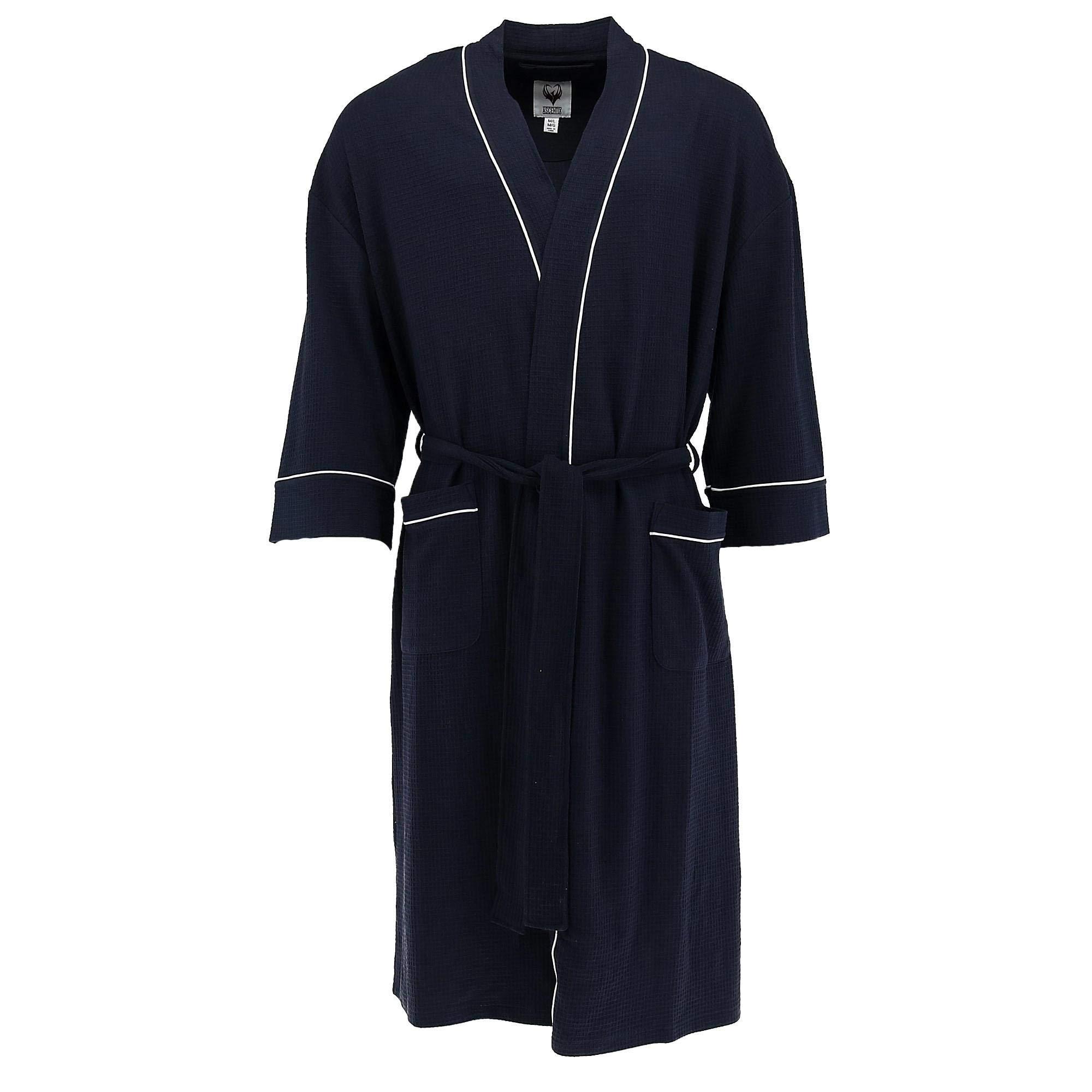 Ascentix Men's Big and Tall Waffle Knit Robe, LT/XLT, Navy