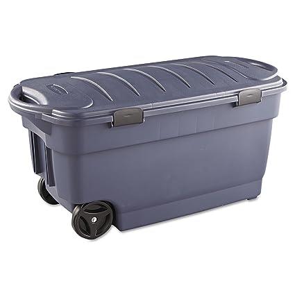 Superbe RUBBERMAID 45 Gallon Roughneck Wheeled Storage Box, Dark Indigo Metallic  (RUB2463DIM)