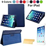 Magnetic Smart Case Cover For Apple ipad 4 / iPad 2 / iPad 3, 2nd, 3rd & 4th Generation with FREE screen protector - Supreme Quality (blue)