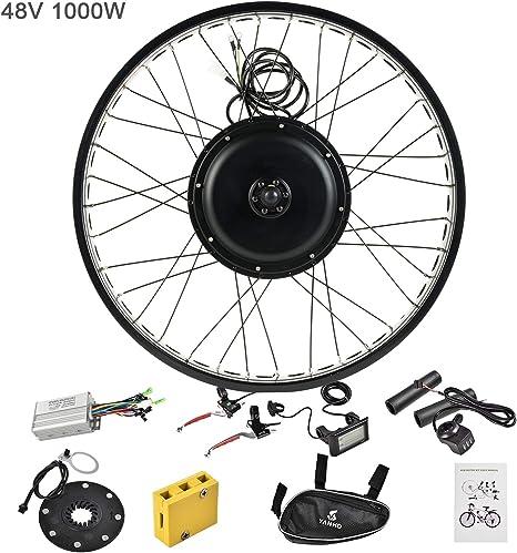 Murtisol Kit de motor eléctrico para bicicleta eléctrica, rueda delantera/trasera de 26 pulgadas, 36 V, 500 W/48 V, 1000 W, kit de conversión de motor de bicicleta: Amazon.es: Deportes y aire libre