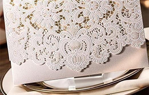 VStoy Blanco Lujo Laser Cut invitación de la boda Flores en (Juego de 20) (blanco): Amazon.es: Hogar