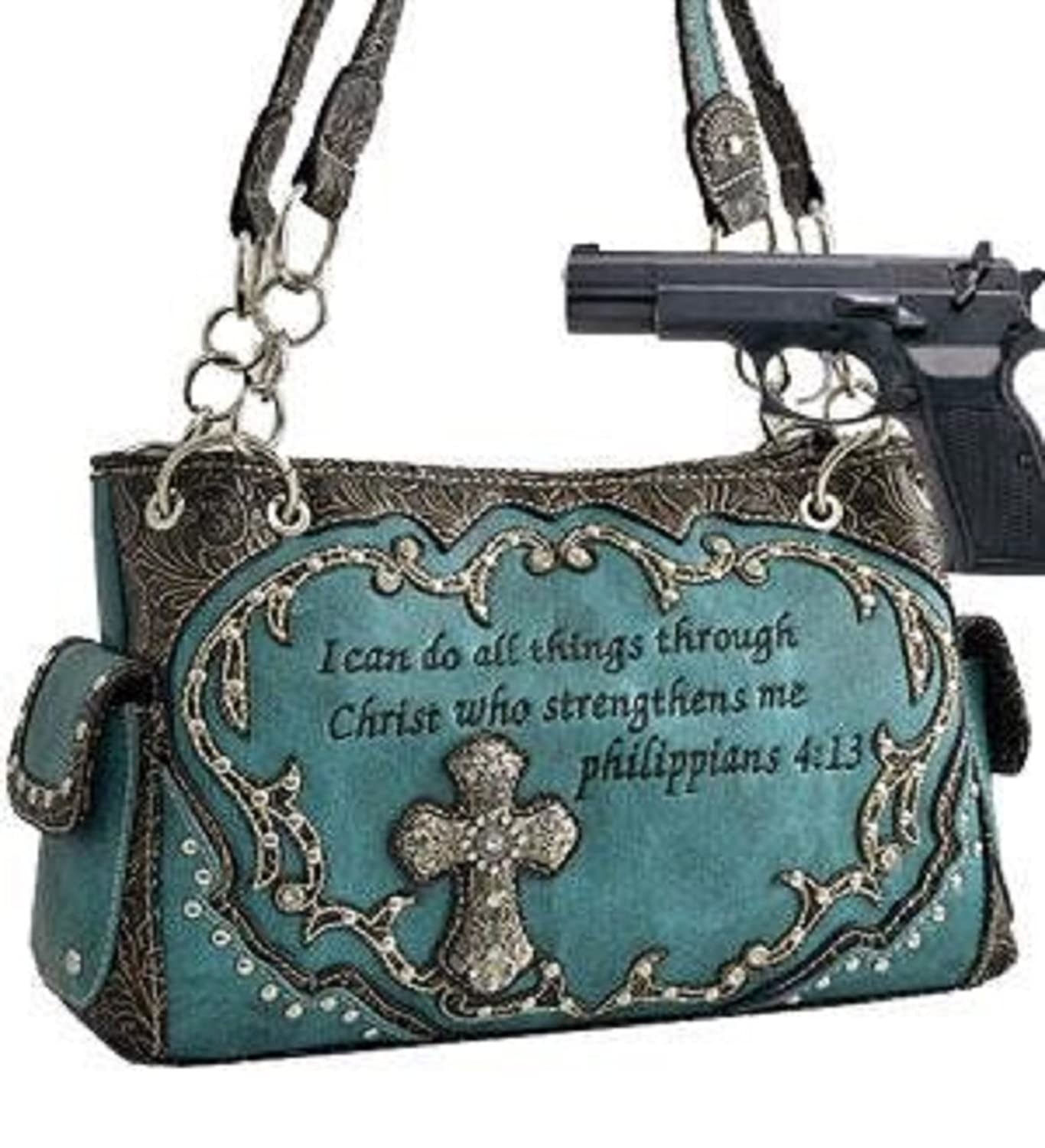 Studded Biblical Verse & Cross Shoulder Bag w/Rhinestone(Concealed Carry Purse) HANDBAG PURSE - TURQUOISE