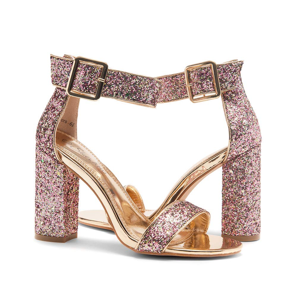 bb8a870660a1d Amazon.com | Herstyle Rumors Women's Fashion Chunky Heel Sandal Open Toe  Wedding Pumps with Buckle Ankle Strap Evening Party Shoes | Heeled Sandals