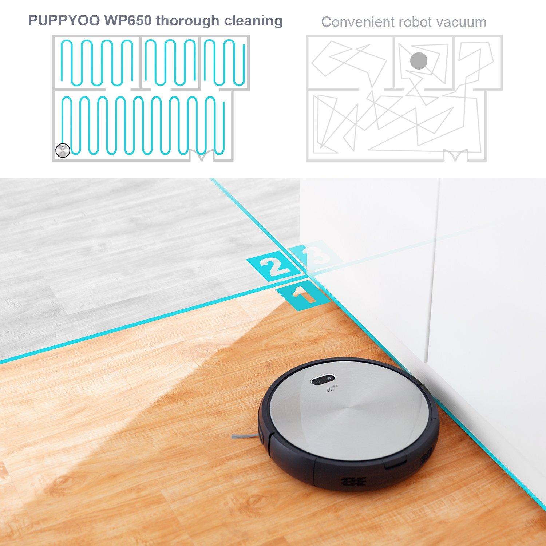 PUPPYOO Robot Aspirador, Programable con Sistema de navegación,Controlado por APP, Potente,aspira alfombras y suelos duros (Gris oscuro): Amazon.es: Hogar