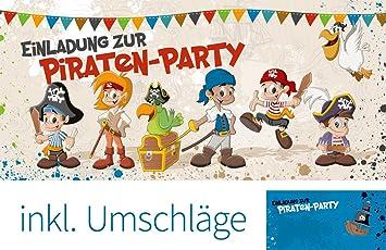 Set: 12 Einladungskarten Kindergeburtstag U201ePiraten Partyu201c (inkl. 12  Briefumschläge)