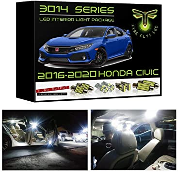 amazon com fyre flys 6 piece white led interior lights for 2016 2020 honda civic super bright 6000k 3014 series smd package kit and install tool automotive fyre flys 6 piece white led interior lights for 2016 2020 honda civic super bright 6000k 3014 series smd package kit and install tool