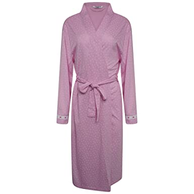 8//10-12//14. Ladies Soft Fleece Wrapover Dressing Gown Ivory//Pink//Blue Floral