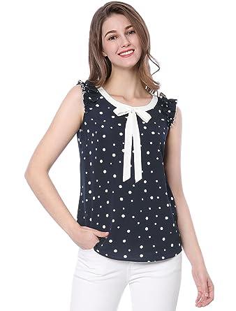 2bd14ab5ef6175 Allegra K Women's Summer Ruffle Sleeveless Bow tie Polka Dot Chiffon Top  Blouse Blue XS (