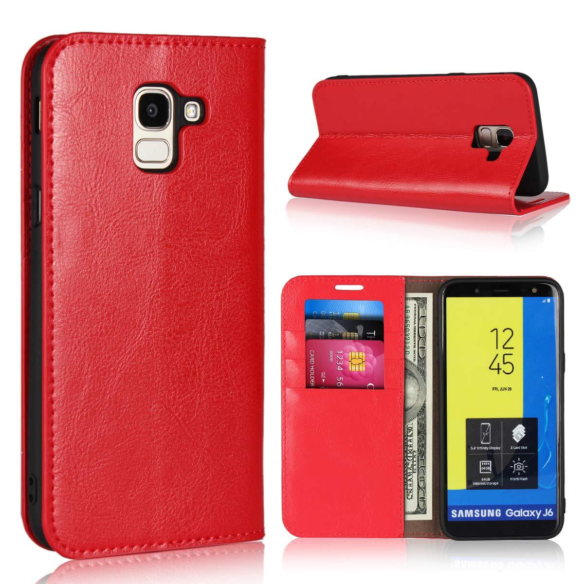 BoxTii Coque Galaxy J6 2018, Étui en Cuir de Protection Portefeuille Rabattable Housse avec Gratuit Protection D'écran en Verre Trempé pour Samsung Galaxy J6 2018 (Rouge) BOFR22-J62018-E04