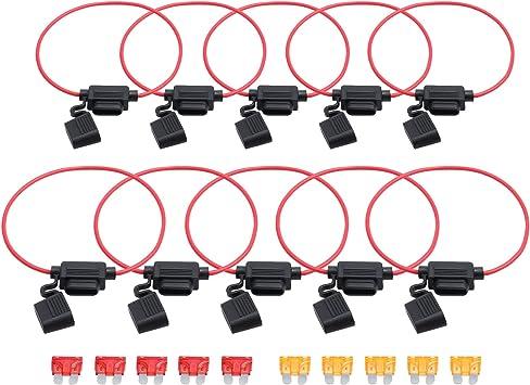 10pc WATERPROOF INLINE FUSE HOLDER 12V 24V 14AWG WITH 10 AMP STANDARD BLADE FUSE
