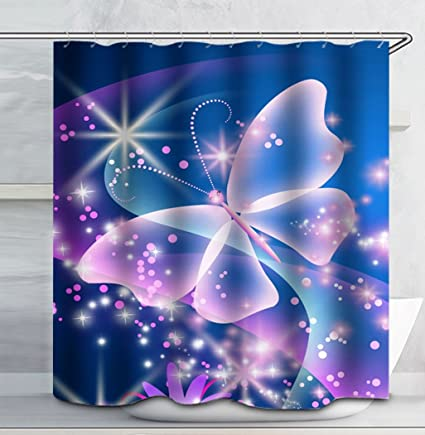 Image Unavailable Not Available For Color DianaL Boutique Beautiful Blue Butterfly Flower Shower Curtain