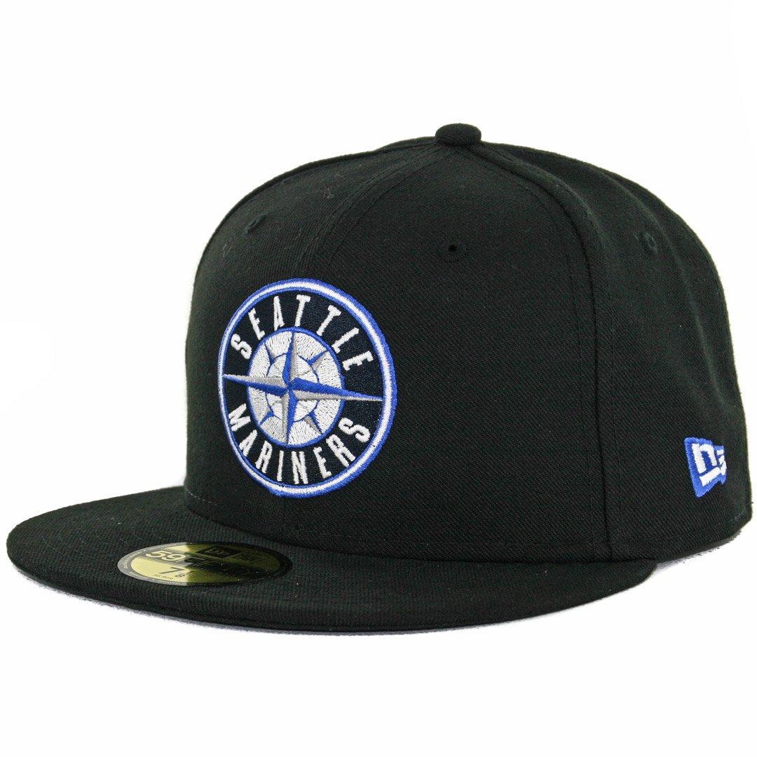 Amazon.com   New Era 59Fifty Seattle Mariners Fitted Hat (Black Compass  Blue) Mens Custom Cap   Sports   Outdoors 0155612f168