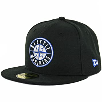 online store c5fa9 a7441 New Era 59Fifty Seattle Mariners Fitted Hat (Black Compass Blue) Mens  Custom Cap
