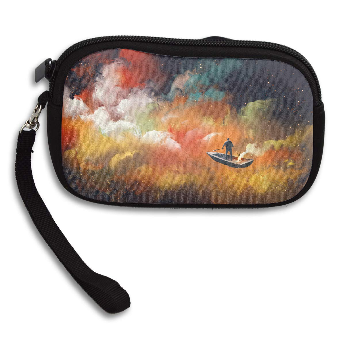 Man On A Boat In The Outer Space With Colorful Cloud Deluxe Printing Small Purse Portable Receiving Bag