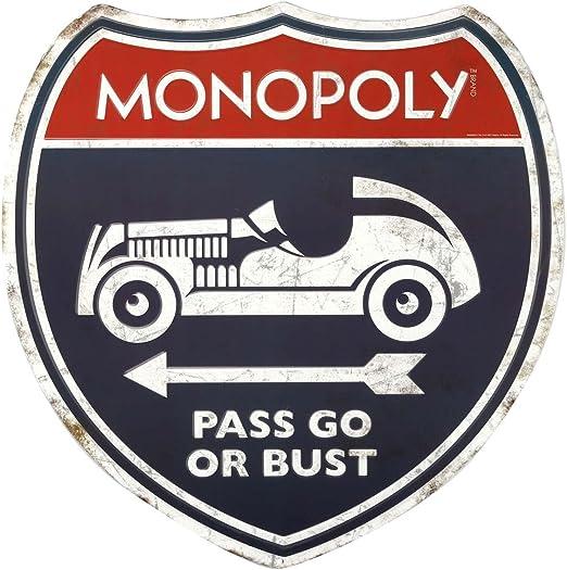 Señal de Metal en Relieve de Las Marcas Open Road Monopoly Pass Go: Amazon.es: Juguetes y juegos