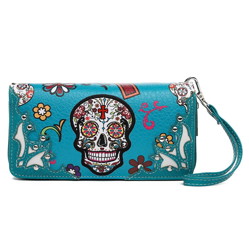 Sugar Skull Clutch Purse Black Day of the Dead Wristlet Wallet Shoulder Bag