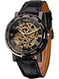 Mudder Men's Mechanical Elegant Skeleton Dial Wrist Watch Black